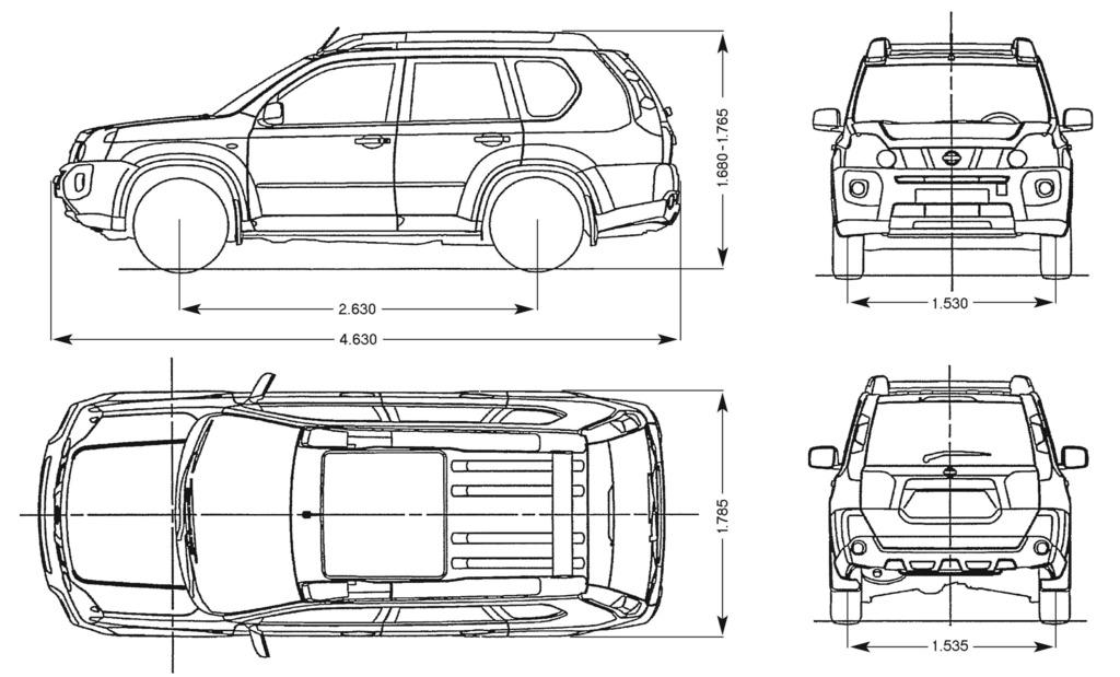 Nissan X-Trail 2021 габариты
